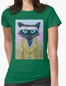 Anderson Tenebaum black cat Womens Fitted T-Shirt