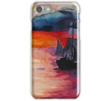 Sunset Ship Watercolour Painting iPhone Case/Skin