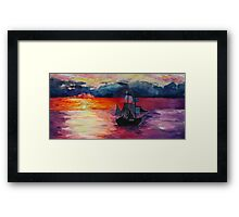 Sunset Ship Watercolour Painting Framed Print