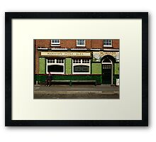 Waiting for the pub to open, England, 1980's Framed Print