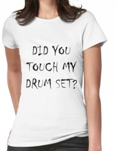 Drum Set Black Womens Fitted T-Shirt