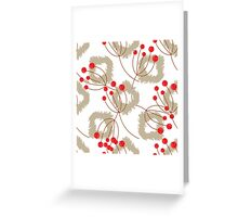 Ikat pattern and berry branches Greeting Card
