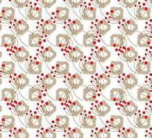 Ikat pattern and berry branches by yopixart