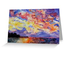Lake Sunrise Watercolour Painting Greeting Card