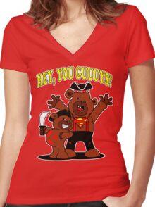 Teddy Bear Goonies Women's Fitted V-Neck T-Shirt