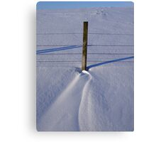 Snow drift & fence post Canvas Print