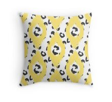Yellow Ikat and leopard skin Throw Pillow