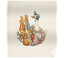 Cecily Parsley's Nursery Rhymes Beatrix Potter 1922 0003 Rabbits Mice Squirrels Goose Hedgehog Poster