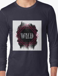Wild- snake word on black texture Long Sleeve T-Shirt