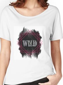 Wild- snake word on black texture Women's Relaxed Fit T-Shirt