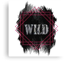 Wild- snake word on black texture Canvas Print