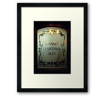 Etched glass door in Midland's pub, England, UK Framed Print