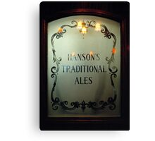 Etched glass door in Midland's pub, England, UK Canvas Print