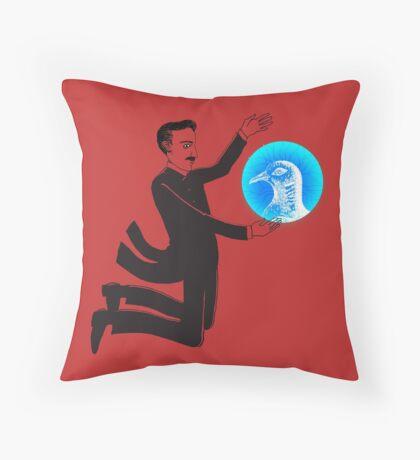 Tesla and the Pigeon Throw Pillow