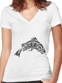 Northwest Native Indian fish totem (horizontal) Women's Fitted V-Neck T-Shirt