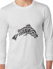 Northwest Native Indian fish totem (horizontal) Long Sleeve T-Shirt