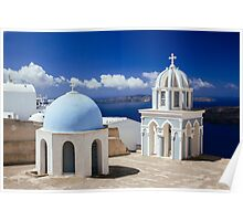 Blue Domes of Santorini Poster