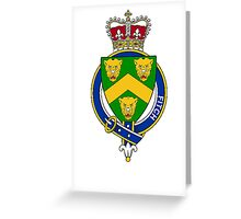 Coat of arms (family crest) for last-name or surname Fitch (England) . Heraldry banner for your name. Greeting Card