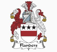 Coat of arms (family crest) for last-name or surname Flanders . Heraldry banner for your name. by rita24