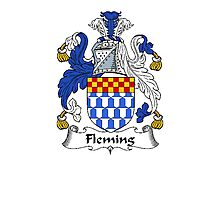 Coat of arms (family crest) for last-name or surname Fleming . Heraldry banner for your name. Photographic Print
