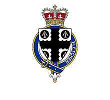 Coat of arms (family crest) for last-name or surname Fletcher (Scotland) . Heraldry banner for your name. Photographic Print