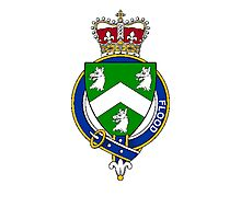 Coat of arms (family crest) for last-name or surname Flood (England) . Heraldry banner for your name. Photographic Print
