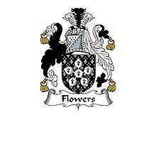 Coat of arms (family crest) for last-name or surname Flower (s) . Heraldry banner for your name. Photographic Print