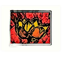 Yahm Lotus- Batik  Fire Ultrasound Art Print