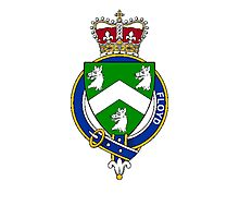 Coat of arms (family crest) for last-name or surname Floyd (Ireland) . Heraldry banner for your name. Photographic Print