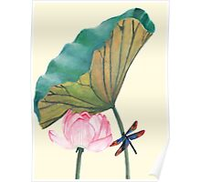 Watercolour Lotus and Dragonfly Poster
