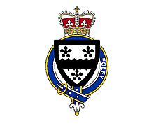 Coat of arms (family crest) for last-name or surname Foley (England and Ireland) . Heraldry banner for your name. Photographic Print