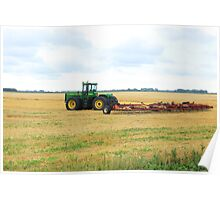 Tractor on a Field Poster