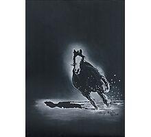 Winter Run-Quarter Horse Running in Snow Photographic Print