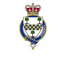 Coat of arms (family crest) for last-name or surname Forrest (Scotland) . Heraldry banner for your name. Photographic Print