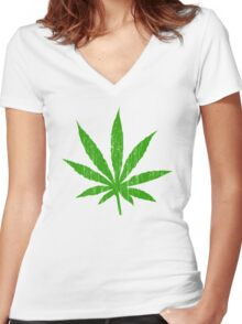 Marijuana Leaf Women's Fitted V-Neck T-Shirt