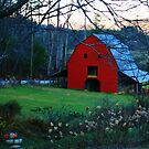 Red Barn at Dusk by Chelei
