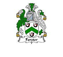 Coat of arms (family crest) for last-name or surname Forster or Foster . Heraldry banner for your name. Photographic Print