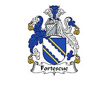 Coat of arms (family crest) for last-name or surname Fortescue . Heraldry banner for your name. Photographic Print