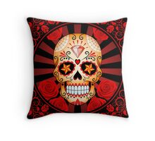 Red Sugar Skull with Roses Throw Pillow