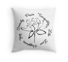 Serenity Tranquility Lotus (Black) Throw Pillow