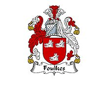 Coat of arms (family crest) for last-name or surname Foulkes (Wales) . Heraldry banner for your name. Photographic Print