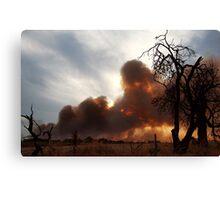 Bush Fire at Sunset. Canvas Print