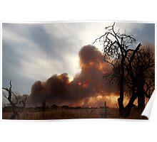 Bush Fire at Sunset. Poster