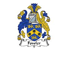 Coat of arms (family crest) for last-name or surname Fowler . Heraldry banner for your name. Photographic Print