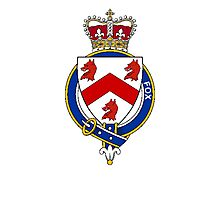 Coat of arms (family crest) for last-name or surname Fox (England) . Heraldry banner for your name. Photographic Print