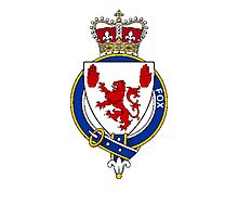 Coat of arms (family crest) for last-name or surname Fox (Ireland) . Heraldry banner for your name. Photographic Print