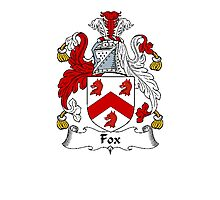 Coat of arms (family crest) for last-name or surname Fox . Heraldry banner for your name. Photographic Print