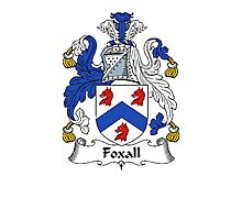 Coat of arms (family crest) for last-name or surname Foxall . Heraldry banner for your name. Photographic Print