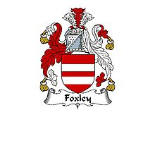 Coat of arms (family crest) for last-name or surname Foxley . Heraldry banner for your name. Photographic Print