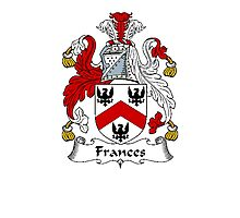 Coat of arms (family crest) for last-name or surname Frances . Heraldry banner for your name. Photographic Print
